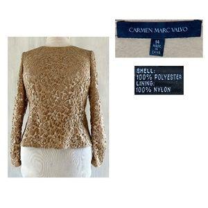 CARMEN MARC VALVO Gold Metallic Open Weave Blouse